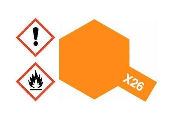 X-26 Acrylfarbe orange klar glänzend 10ml - Tamiya 81526