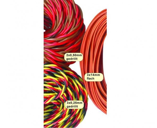 Kabel Futaba 2x0.50mm² 10m gedrillt - Jamara 098036