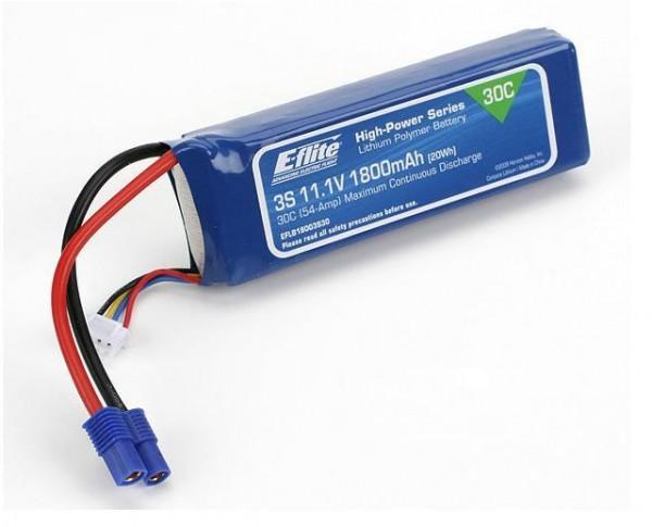 LiPo 11.1V 1800mAh 30C EC3 - E-Flite EFLB18003S30